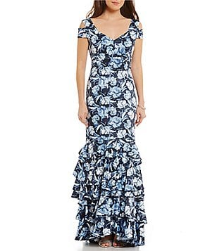 Kay Unger V-Neck Cap Sleeve Cold-Shoulder Floral Ruffle Hem Gown