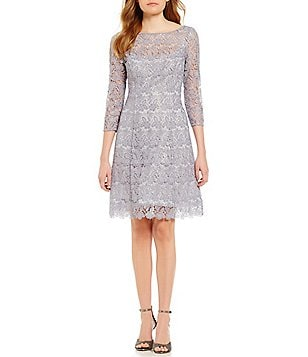Kay Unger Sequin Lace 3/4 Sleeve Fit & Flare Dress