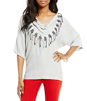 John Mark Novelty Fringe Cowl Neck Elbow Sleeve Top