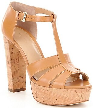 MICHAEL Michael Kors Mercer Leather T-Strap Block Heel Platform Sandals
