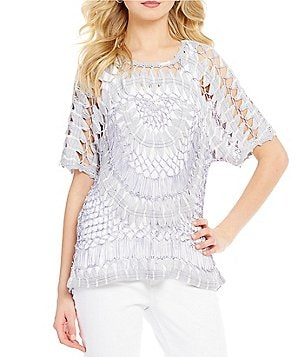 John Mark Scoop Neck 3/4 Sleeve Tie Dye Crochet Tunic