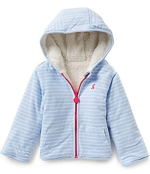 Joules Baby/Little Girls 12 Months-3T Reversible Striped Fleece Hooded Sweatshirt