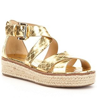 MICHAEL Michael Kors Darby Metallic Snake Leather Banded Espadrilles