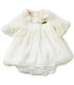 Laura Ashley London Baby Girls Newborn-24 Months Ruffle Swiss-Dot Dress