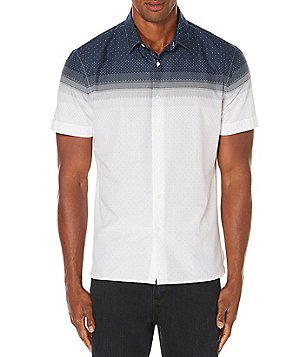 Perry Ellis Dot Print Two-Tone Short-Sleeve Woven Shirt