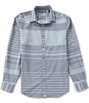 Perry Ellis Engineered Stripe Short-Sleeve Woven Shirt