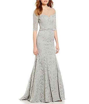 MGNY Madeline Gardner New York Illusion Off-The-Shoulder Gown