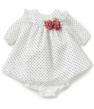Marmellata Baby Girls Newborn-24 Months Dotted Floral-Applique Dress