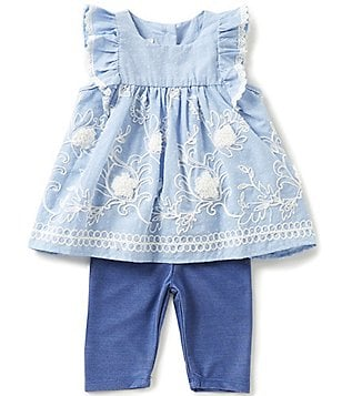 Pippa & Julie Baby Girls Newborn-24 Months Embroidered Ruffled Top & Leggings Set