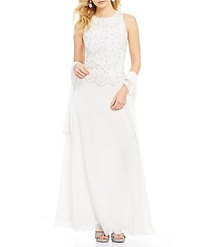 Jkara Halter Neck Sleeveless Sequin Mock Two-Piece Long Gown