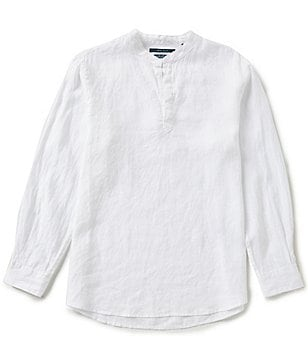 Perry Ellis Linen Popover Long-Sleeve Shirt