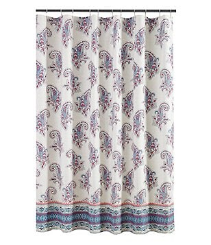 Jessica Simpson Gemma Floral-Bordered Paisley Shower Curtain