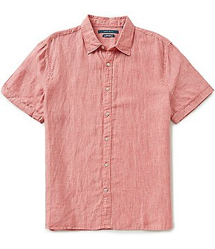 Perry Ellis Solid Linen Short-Sleeve Button-Front Woven Shirt