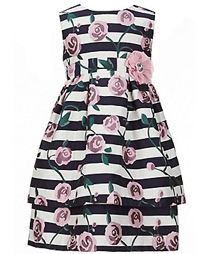 Pippa & Julie Little Girls 2T-6X Striped Floral-Applique Dress
