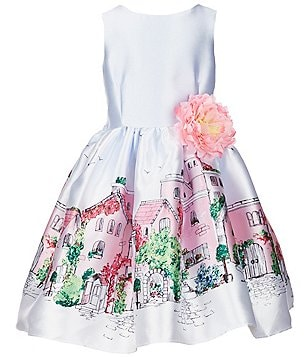 Pippa & Julie Little Girls 2T-6X Border-Print Floral Applique Dress