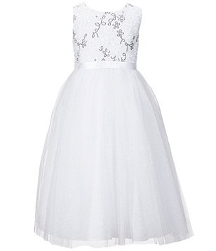Marmellata Big Girls 7-12 Sequin Flower-Girl Dress