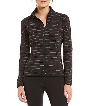 lucy No Excuses Tight-Fit Front Zip Long Sleeve Mock Neck Knit Jacket