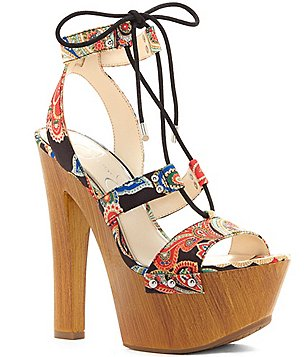 Jessica Simpson Doreena Fabric Banded Lace Up High Platform Sandals