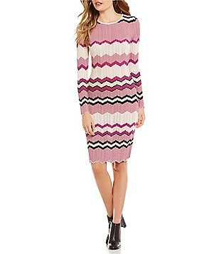 Chelsea & Violet Chevron Print Long Sleeve Knit Dress
