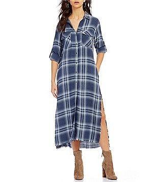 Chelsea & Violet Utility Duster Button Down Side Slit Dress