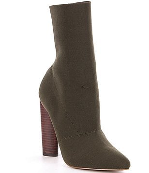 Steve Madden Capitol Stretch Knit Pull-On Block Heel Booties