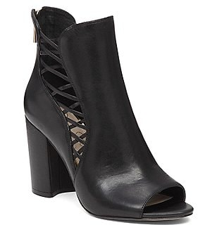Jessica Simpson Millo Leather Peep Toe Side Cutout Shooties
