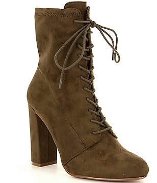 Steve Madden Elley Suede Lace-Up Block Heel Booties