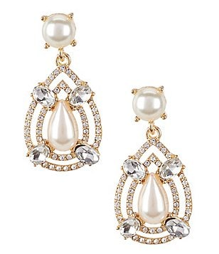 Gemma Layne Faux-Pearl & Crystal Statement Drop Earrings