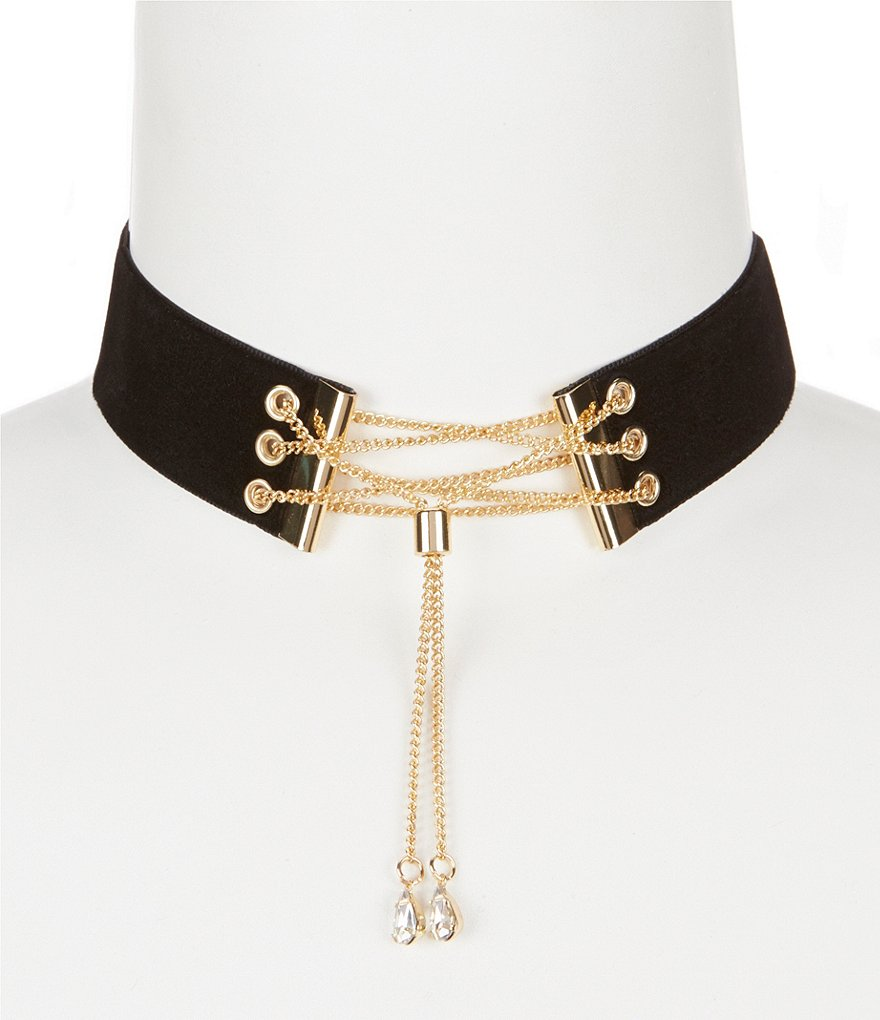 Anna & Ava Chain-Laced Velvet Choker Necklace