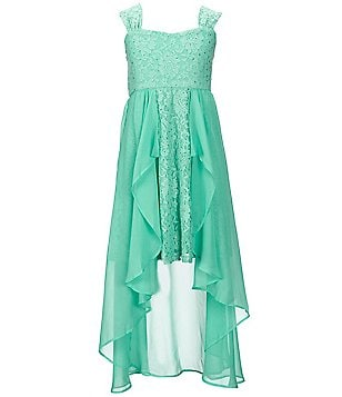 Tween Diva Big Girls 7-16 Lace High-Low Ruffle Dress
