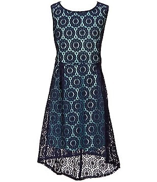 Rare Editions Big Girls 7-16 Lace Overlay Sleeveless High-Low Dress
