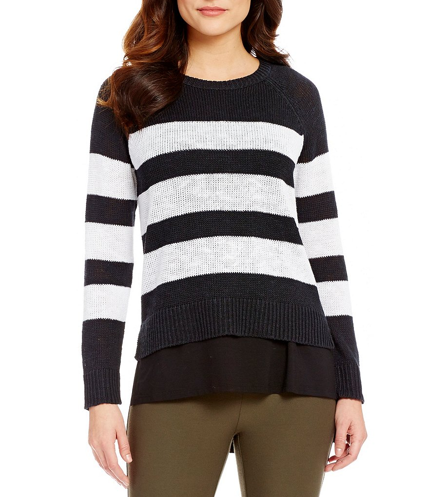 Eileen Fisher Round Neck Long Sleeve Sweater Top