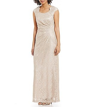 Tahari by ASL Cap-Sleeve Sparkle Lace Gown