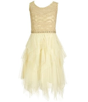 Tween Diva Big Girls 7-16 Illusion-Lace Tiered Dress