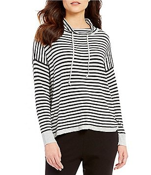 Eileen Fisher Funnel Neck Long Sleeve Striped Box-Top
