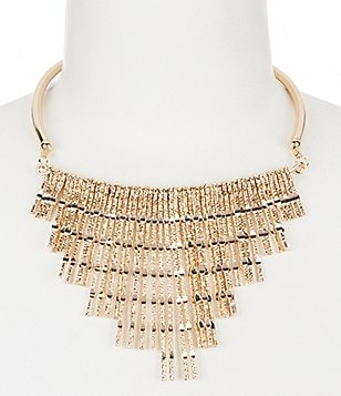Natasha Accessories Hammered Statement Necklace