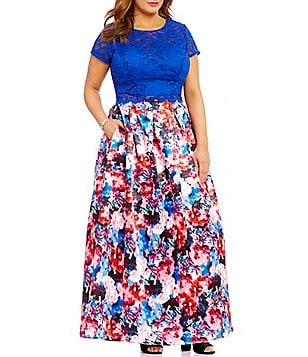 Teeze Me Plus Lace Top to Floral Skirt Two-Piece Ballgown