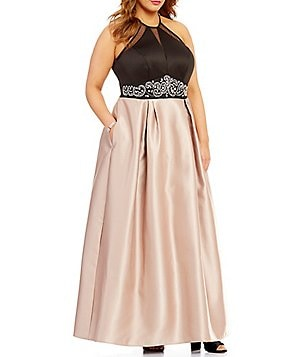 Teeze Me Plus Color Block Embellished Waist Ballgown