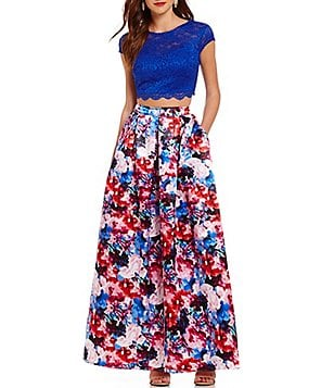 Teeze Me Illusion-Yoke Lace Top To Floral Skirt Two-Piece Ball Gown