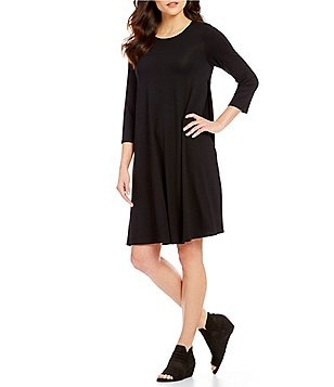 Eileen Fisher Round Neck 3/4 Sleeve Dress
