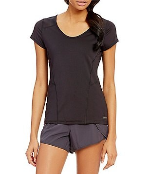 Calvin Klein Performance Seamed Airflow Knit Jersey With Power Mesh Insets Tee