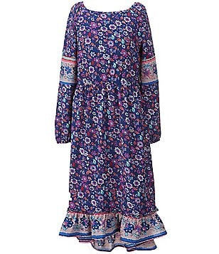 GB Girls Big Girls 7-16 Floral Printed Midi Ruffled High-Low Dress