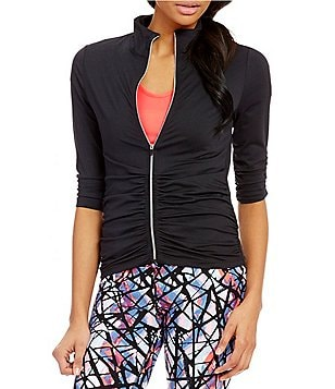 Calvin Klein Performance Zip Front Ruched Knit Jacket