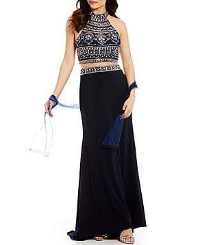 Coya Collection Mock Neck Beaded Faux Two-Piece Long Dress