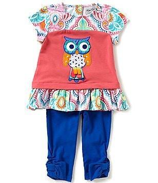 Rare Editions Little Girls 2T-6X Multi-Print Owl Top and Solid Leggings Set