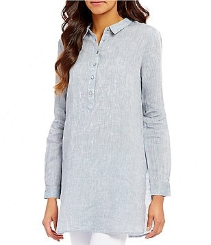 Eileen Fisher Classic Collar Henley Long Sleeve Linen Tunic