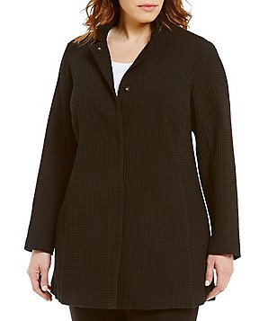Eileen Fisher Plus Stand Collar Snap Front Long Jacket