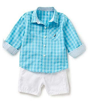 Nautica Baby Boys 12-24 Months Check Printed Long-Sleeve Woven Shirt & Solid Shorts Set