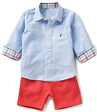 Nautica Baby Boys 12-24 Months Printed Long-Sleeve Woven Shirt & Solid Shorts Set