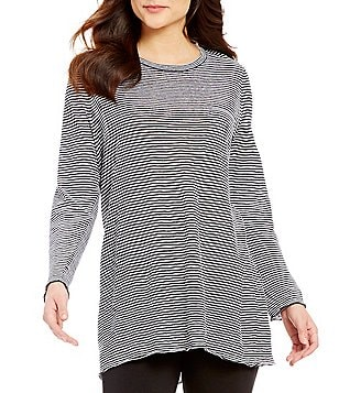 Eileen Fisher Plus U-Neck Long Sleeve Organic Linen Striped Tunic